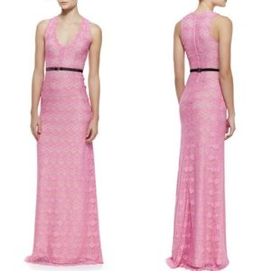 Korovilas Pink Noelle Lace Gown Dress